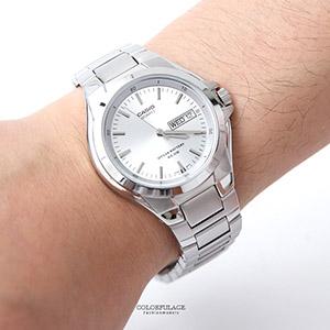 CASIO卡西歐耀眼亮銀防水鋼錶