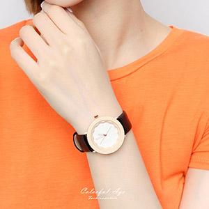 手錶 浪漫花朵皮革腕錶