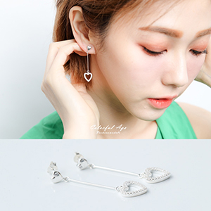 925純銀鏤空水鑽心垂墜耳針耳環
