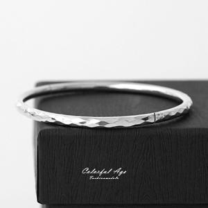 925純銀亮面菱格波紋手環