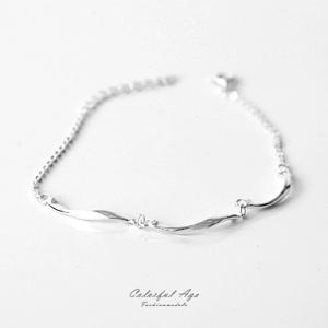 925純銀立體旋轉線條手鍊