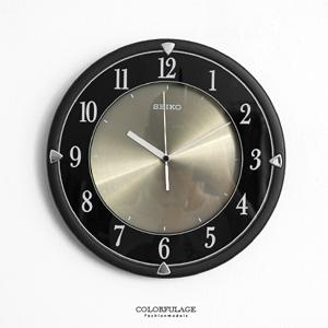 SEIKO沉穩黑鋁面盤時鐘