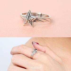 925純銀立體層次星星活動戒指