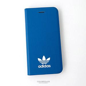 iPhone 7愛迪達藍色側掀手機殼