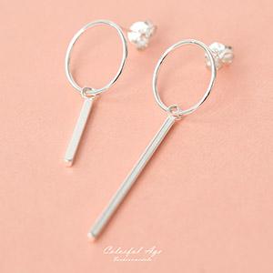 925純銀長短線條不對稱耳針耳環