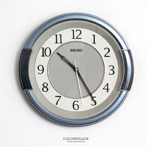 SEIKO簡約銀藍粗框時鐘