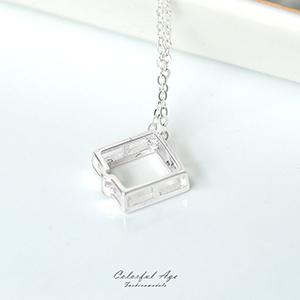 925純銀鏤空菱形水鑽項鍊