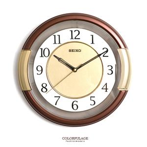 SEIKO簡約咖啡色粗框時鐘