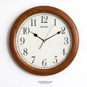 SEIKO木紋粗框圓型時鐘