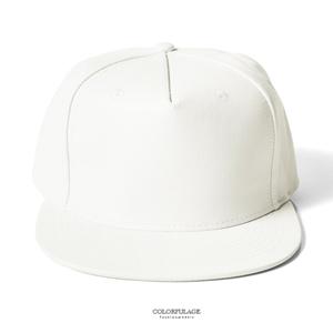 純白色系休閒皮革棒球帽