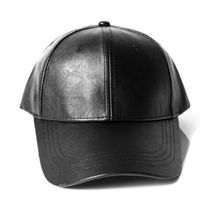 純黑色皮革彎沿帽棒球帽