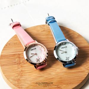 浪漫星空珍珠貝面皮革手錶