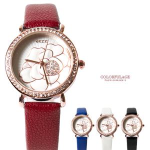 奧地利水鑽花朵皮革手錶