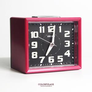 SEIKO精工簡約方型紅色鬧鐘