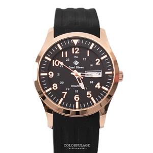 搭戴SEIKO機芯玫金黑面手錶