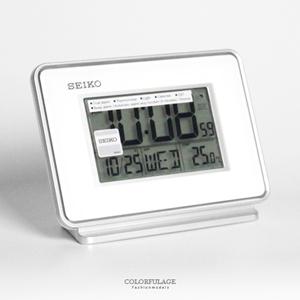SEIKO精工白色液晶電子鬧鐘